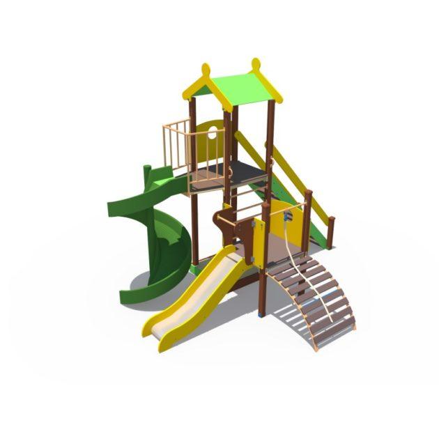 ДИО 04110 Детский игровой комплекс с винтовым скатом Н-2000 и металлическим скатом Н-1200