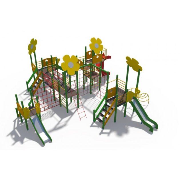 ДИО 04114 Игровой комплекс Цветочный город с металлическими скатами Н-900,1200 и винтовым скатом Н-2000