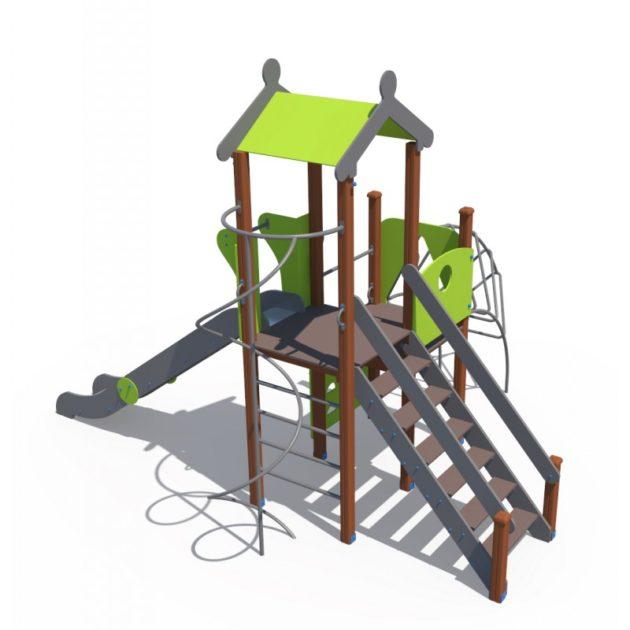 ДИО 04116 Детский игровой комплексом с металлическим скатом Н-1500 и лазом