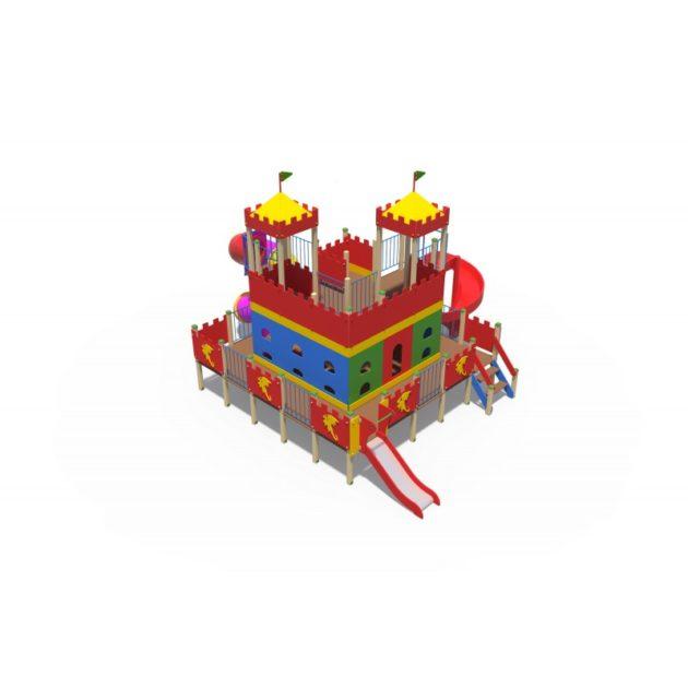 ДИО 13051 Детский игровой комплексДворец чудес Н-2000 и Н-750 (закрытая пластиковая труба и винтовой скат )