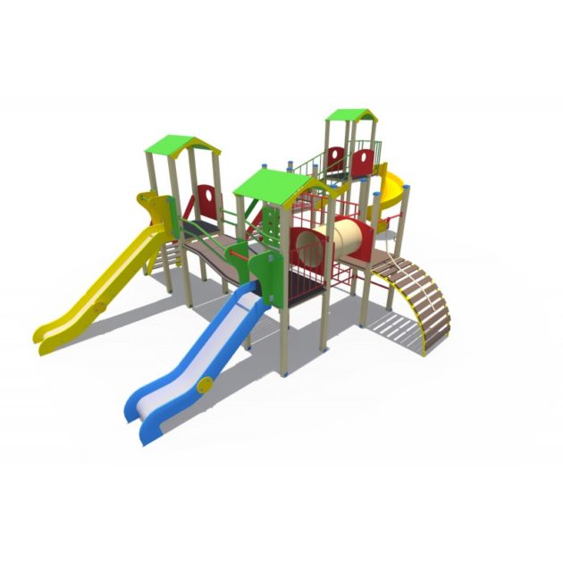 ДИО 13091 Детский игровой комплекс Переходы 2 с металлическими горками Н-1200,1500 и винтовым скатом Н-2000